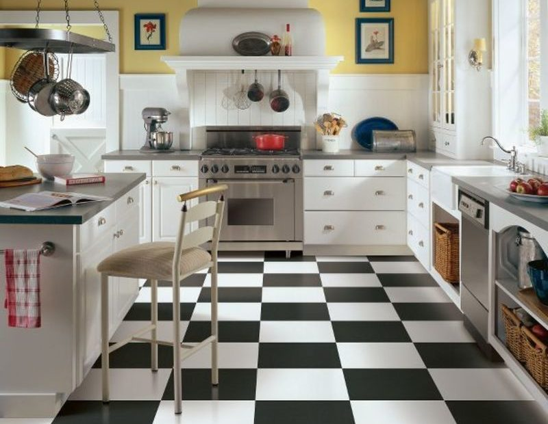 black-white-tile-floor | Carpet Direct Kansas City